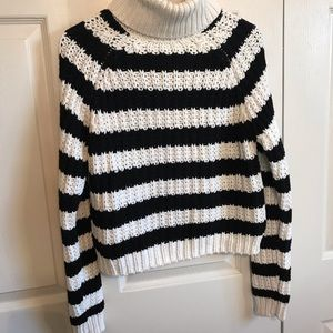 Women's striped turtleneck chunky sweater